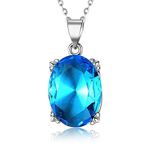 Brillante Cristal Oval Azul Colgante Collar Mujer Joyería Moda Accesorios Rojo Collar Mujer Collar Mujer Joyería Personalidad