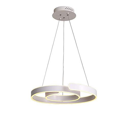 LED Suspension Lumière Dimmable avec télécommande Moderne Rond Bague Désign Lampe pendante suspendue blanc Métal Abat-jour Île de cuisine Table de salle à manger Salon Bar Loft Étude Lustre Éclairage