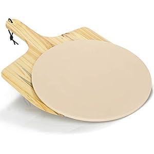 COM-FOUR® Plato de piedra de 33 cm para pizza con empujador de pizza, hornear pizza en el horno o parrilla, ladrillo refractario a prueba de fuego, empujador de pizza de madera (Con piel de pizza)