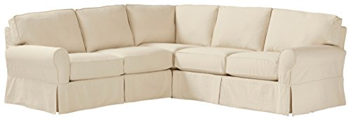 Stone & Beam Carrigan Modern Sectional Sofa Couch with Slipcover, 103'W, Natural