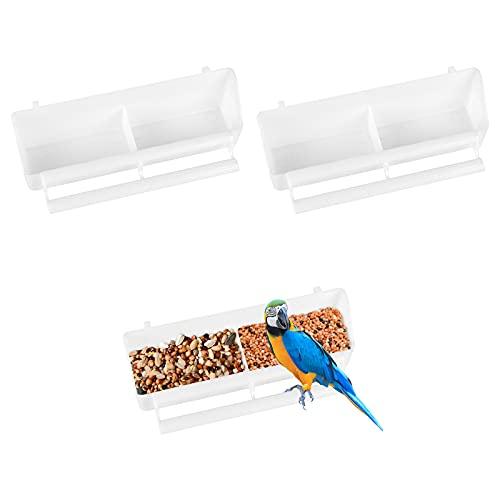 3Pcs Comederos Plásticos para Pájaros, Comederos Canarios Jaulas, Cuenco de Agua con 2 Compartimento, Accesorios de Jaulas para Loros Periquitos Cacatúas Palomas(Blanco)