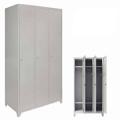 Panana 3 Door Steel Storage Lockers, Pal Staff Storage Grey Metal Lockable Unit Flatpack Gym Staff School Changing Room (Grey)