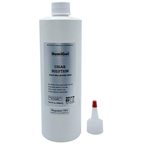 Cigar humidor solution for humidifiers 16.9 oz, MADE IN USA by HumiGel, Propylene Glycol 50/50 formula, Anti-mold, and keep your cigars fresh, Made with 100% domestic ingredients, bottled in Danville, California