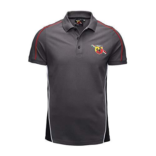 FCA Abarth Poloshirt für Gara, Farbe Grau mit roten Profilen und Wappen auf der Vorderseite, Originalgröße 6002350807