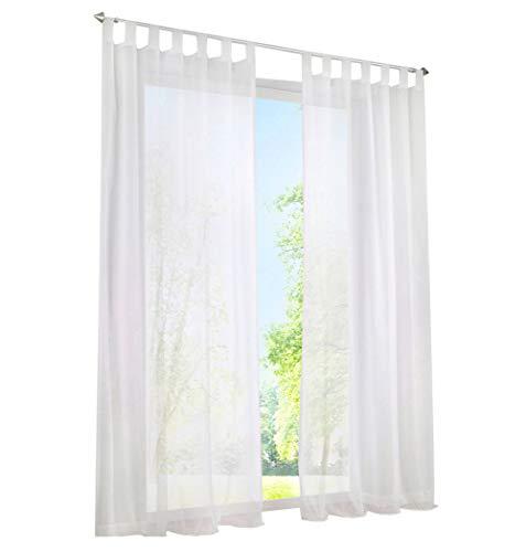 BAILEY JO 1er-Pack Gardine mit Schlaufen Vorhänge Transparent Voile Vorhang (BxH 140x145cm, weiß)