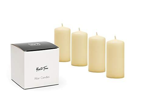 Yop & Tom Stumpenkerzen - 4 weiße Kerzen in Einer hübschen Geschenkverpackung