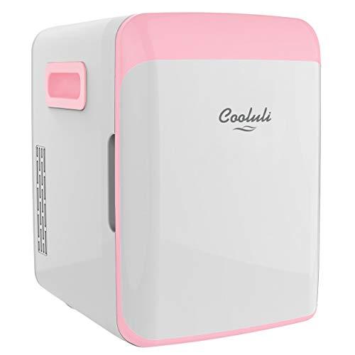 Cooluli 10L Mini Fridge for Bedroom - Car, Office Desk & College Dorm Room - 12V Portable Cooler & Warmer for Food, Drinks, Skincare, Beauty, Makeup & Cosmetics - AC/DC Small Refrigerator (Pink)