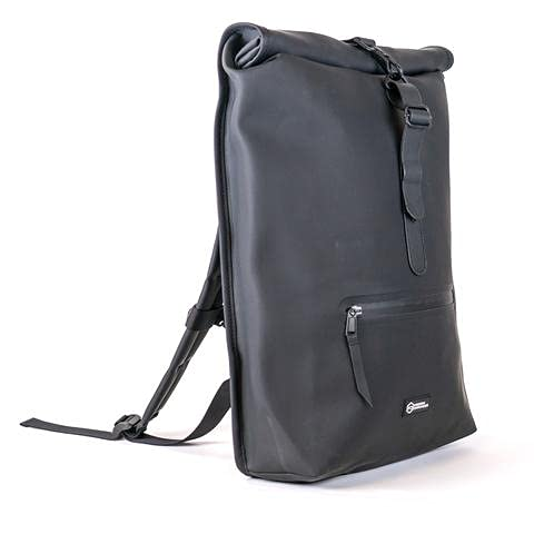 Mission Darkness FreeRoam Faraday Backpack. Stylish Roll Top Bag with Durable Water-Resistant Exterior, RF Blocking Liner, Padded Laptop Compartment, Device Isolation, Anti-Tracking, EMF Shielding