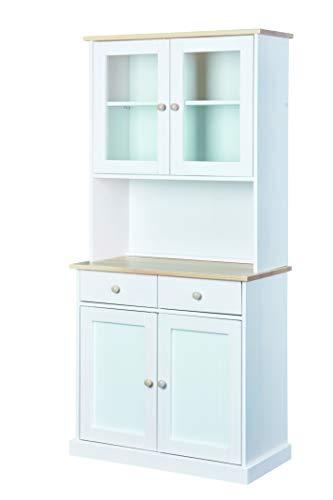 Inter Link Buffet Vitrine Landhausstil mit 4 Türen 2 Schubladen Kiefer Massivholz weiß/Milkyskin lackiert, 2 Türig