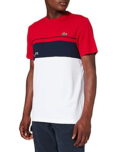 Lacoste Herren TH9561 T-Shirt, Rubis/Blanc-Marine, XL