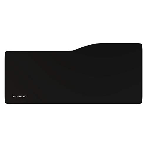Lioncast Conquer Oversize Gaming Mauspad/Gamer Mousepad (795mm x 345mm, Stoff, genähter Rand) schwarz/Black - Extended Version ideal für Gaming & E-Sports