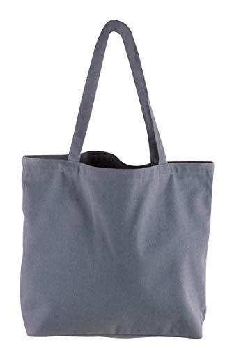 Rayher 53987564 Basic Shopper, grau, 46 x 35 cm, Textiltasche, Stofftasche, Einkaufsbeutel, Stoffbeutel, 330g/m2, unbedruckt