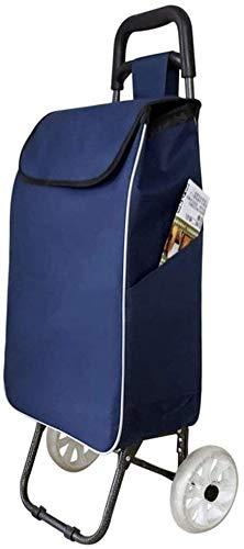 Carrito de supermercado Plegable y Ligero Carro de la Compra multifunción Carro de la Compra Coloque la Palanca de la Rueda de una Sola Rueda Portátil Portátil Pequeño Trolley (Color : Blue)