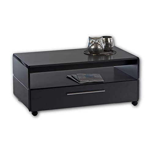 CHROME Couchtisch grau Hochglanz auf Rollen - mobiler Sofatisch mit Ablage & großer Schublade für Ihren Wohnbereich - 100 x 44 x 55 cm (B/H/T)