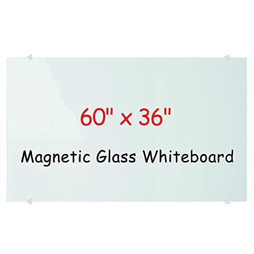 Magnetic Glass Dry Erase White Board, Frameless Glass Whiteboard on wall, Large Frosted white surface, 60 x 36 Inch (150 x 90 cm), Including 4 markers, 2 Magnets, 1 Eraser