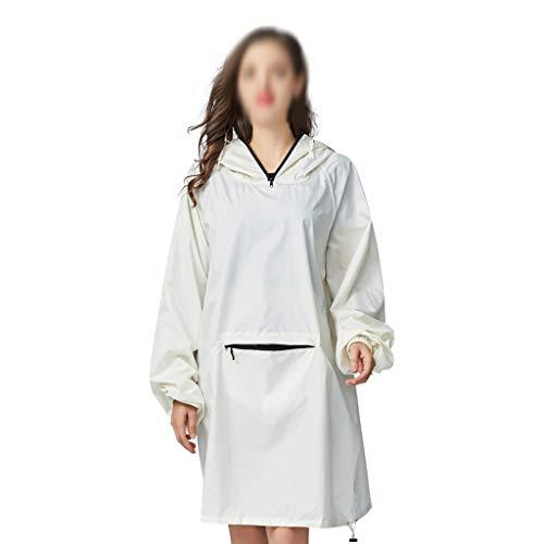 YWSZJ Modela Impermeable de la Lluvia de la Lluvia de la Lluvia Impermeable para Las Mujeres al Impermeable Blanco con Las Mangas de la Capucha y el Bolsillo Grande en el Frente
