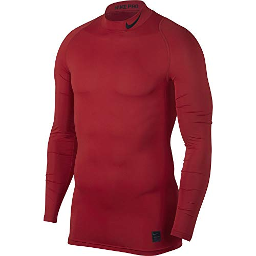 Nike Herren M NP COMP Mock Long Sleeved T-Shirt, University red/Black, 2XL