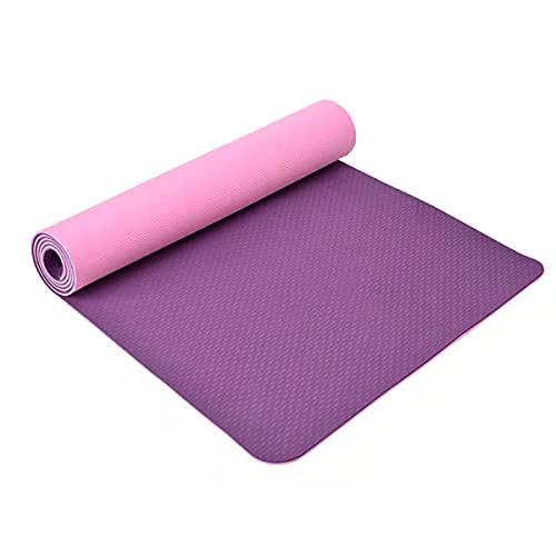 MTYQE Esterilla, colchoneta de Yoga de 6 mm, colchoneta de Ejercicios de Fitness Antideslizante ecológica de TPE, Equipada con colchoneta de Fitness de Dos Colores, Adecuada para Yoga y Gimnasia