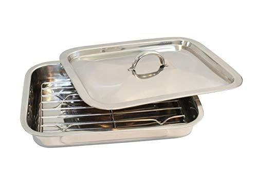Plat à lasagnes et à gratins en acier inoxydable - Avec grille et couvercle - Pour rôtir