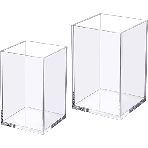 2 Pieces Acrylic Pen Holder, Clear Thicken Base Desktop Pencil Cup Stationery Organizer for Office Desk Accessory