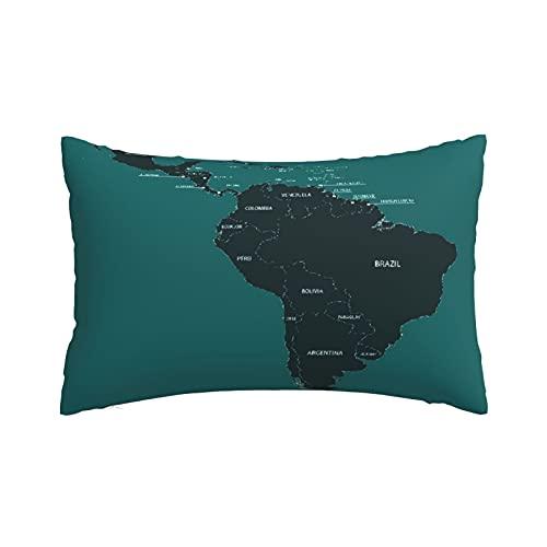 Fundas de Almohada Suaves y acogedoras, Belice América Central América del Sur Mapa Paraguay País Ecuador Argentina Frontera de Bolivia, Fundas de Almohada con diseños delicados, 16'X24'