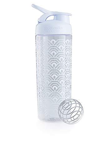 BlenderBottle Signature Sleek Tritan Trinkflasche mit BlenderBall, geeignet als Protein Shaker, Eiweißshaker, Wasserflasche oder für Fitness Shakes, BPA frei, White Clamshell (820 ml)