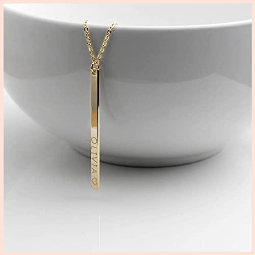 XQAQW Cochecito de Plata esterlina 925 para Mujer Collar Grabado Personalizado Mejor Amigo -60Cm_and_5Cm_Gold_Plated