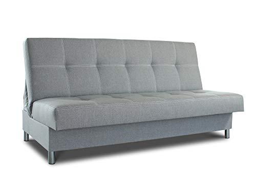 Schlafsofa Bella mit Schlaffunktion - 3 Sitzer Sofa, Couch mit Bettkasten, Bettsofa, Schlafsofa, Polstersofa, Couchgarnitur (Grau (Inari 91))