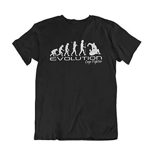 Evolution of a cage fighter Herren Mens ufc mma martial arts funny unique gift present t shirt Black shirt white print