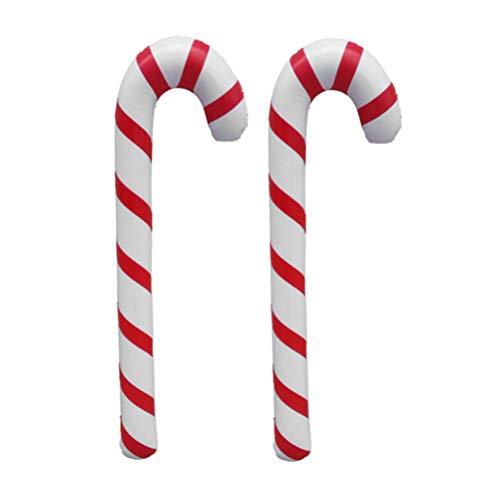 TOYANDONA 3Pcs 87Cm Bastones de Caramelo Inflables de Navidad Jumbo Bastones de Caramelo Inflables Globos Decoraciones de Césped de Fiesta de Navidad (Rojo + Blanco)