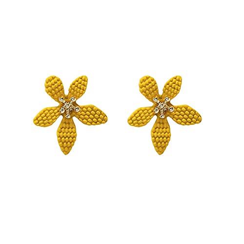 XCWXM Moda Femenina Accesorios de Verano Dulce y Lindo Amarillo Caramelo Borla geométrica Pendientes Colgantes Lindos joyería femenina-56
