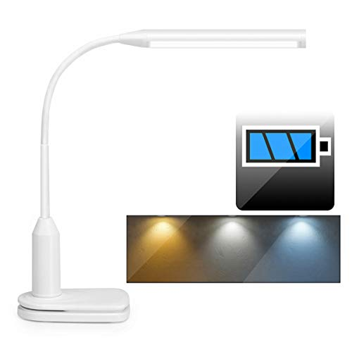 Rechargeable LED Desk Lamp Clip on Table Light with Battery Powered (2000mAh) 3 Color, Stepless Dimmable Touch Control 360° Flexible Reading Clamp Lamp for Study Bedroom Office (White)