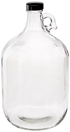 FastRack Glass Water Bottle Includes 38 mm Polyseal Cap, 1 gallon Capacity, Clear