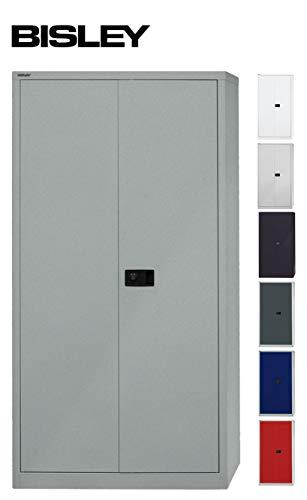 BISLEY Aktenschrank   Werkzeugschrank   Flügeltürenschrank aus Metall abschließbar inkl. 4 Einlegeböden   Stahlschrank in Silber