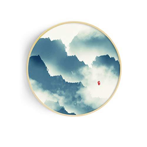 Dekoration Wohnzimmer Dekorative Malerei Veranda Hängende Gemälde Alte Chinesische Malerei Restaurant Wandmalereien Massivholz Rundschreiben Box (Color : F, Size : 70cm)