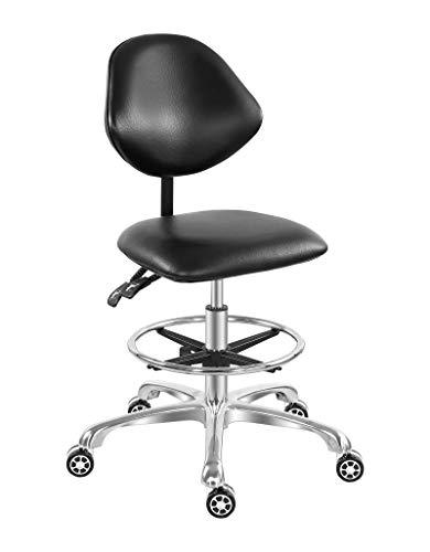 Silla de computadora de pie de dibujo ajustable, para salón de tienda, trabajo dental con ruedas y respaldo, silla alta y cómoda con reposapiés (negro)