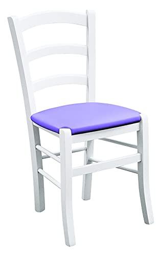 Fashion Commerce Set di Due sedie Laccato fondino in Ecopelle Color, Legno massello, Bianco, Lilla, 2, 2 unità