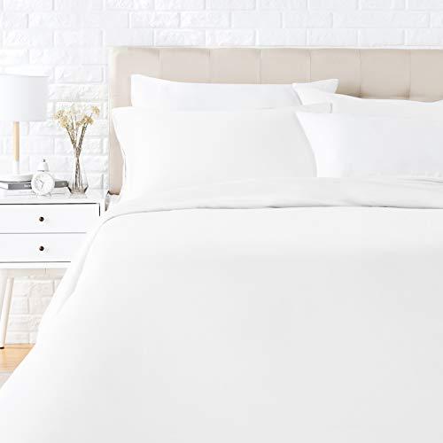 Amazon Basics - Juego de ropa de cama con funda de edredón, de satén, 155 x 200 cm / 50 x 80 cm x 2, Blanco
