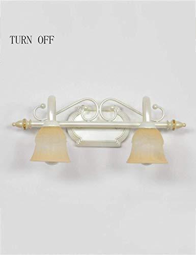 Retro Mini-Wandleuchte Multi-Szene Licht vor dem Spiegelglas matte Schatten Continental Eisen retro Badezimmerspiegel kreative Make-up Scheinwerferlampe, B, 75 cm ( Color : B , Size : 44.5cm )