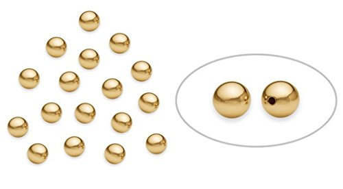 50pcs x Gold Plated 925 Sterling Silver 4mm (0.16 Inch) Seamless Smooth Small Round Spacer Beads for Jewelry Craft Making Findings SS257-4