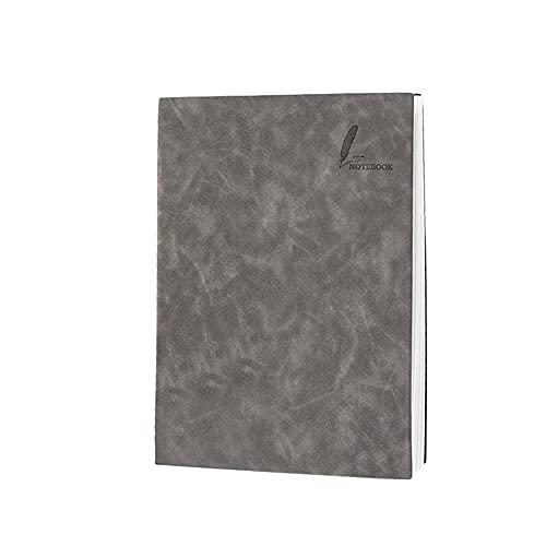 FACHAI Cuaderno A4, tapa dura de piel, bloc de notas con rayas para trabajo, 200 páginas, gris, 21,5 x 29 cm
