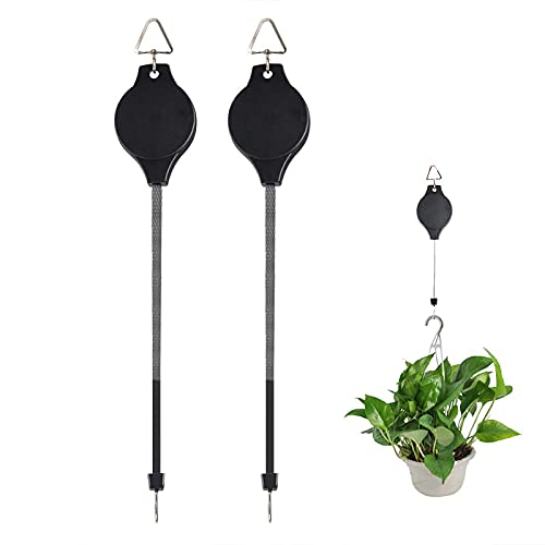 2 Pack Plant Pulley Retractable Plant Hook Hanger for Hanging Garden Plants Flower Baskets Flowerpots and Birds Feeder in Adjustable Height Easy Way to Care for Your Hanging Plants (Black)