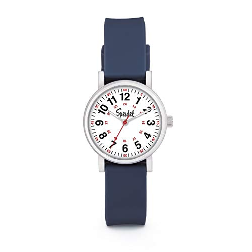 Speidel Women's Navy Blue Scrub Petite Watch for Medical Professionals Easy to Read Small Face, Luminous Hands, Silicone Band, Second Hand, Military Time for Nurses, Students in Scrub Matching Colors