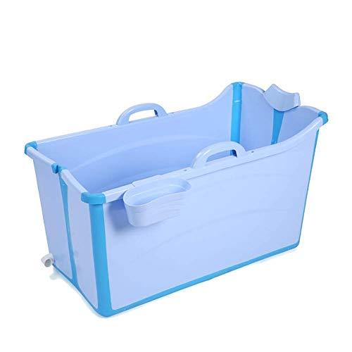 Bañera de plástico para Adultos, Barril de baño portátil para el hogar Piscina/Cubo Cómoda bañera Plegable para el hogar para niños Fácil de acomodar Bañera Grande (Color: Azul)