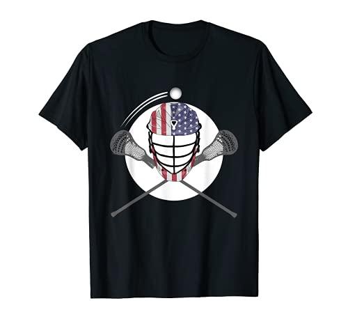 Lacrosse Helmet and Sticks, American Flag Lax Helmet T-Shirt T-Shirt
