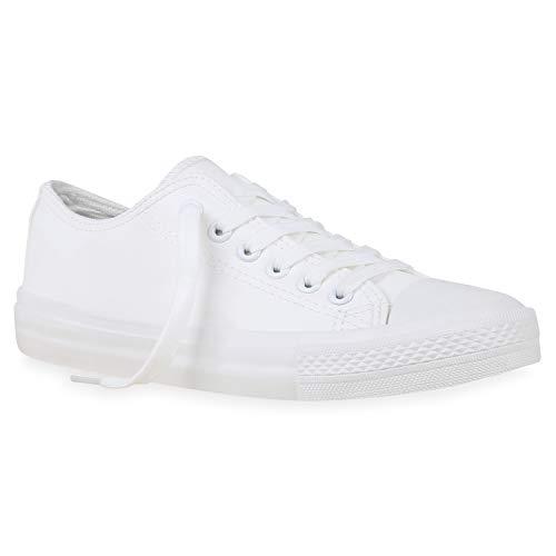 stiefelparadies Damen Sneaker Low Basic Turnschuhe Schnürer Bequeme Schuhe Stoff Freizeitschuhe Schnürschuhe 172732 Weiss Kunstleder 38 Flandell