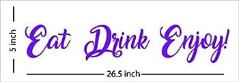 Fabulous Décor  EAT DRINK ENJOY! Decal Inspirational Vinyl Sticker Wall art Lifestyle Quote kitchen restaurant bar dining room home improvement fitness office dorm 26.5Wx5H  Purple