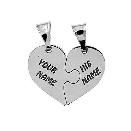 Cuore che si divide in due ciondolini a forma di mezzo cuore, in argento 925 rodiato, sia per collana che per bracciale. Incisione gratuita.