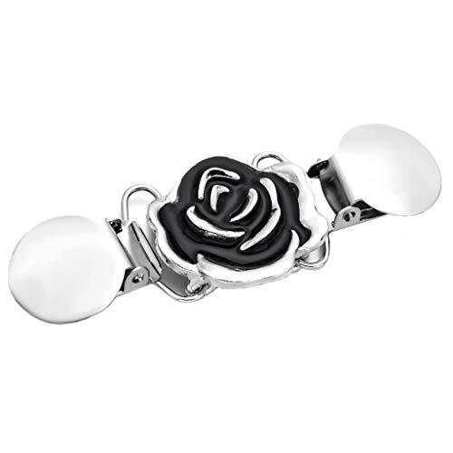 IPOTCH Damen Blumen Entenschnabel Pullover Cardigan Clip Schal Pins Broschen Verschlussklammer - Einzelne Rose