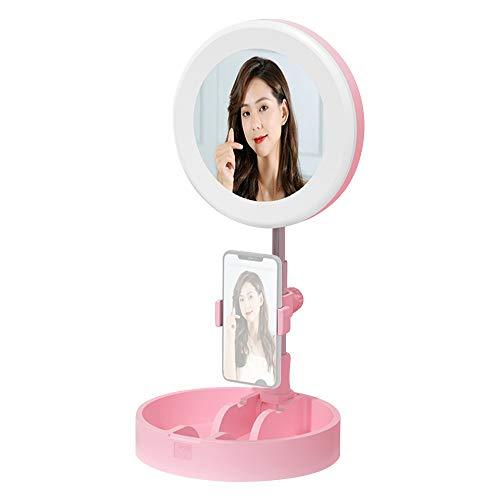 Anillo de luz LED portátil Lámpara Circular de Escritorio Plegable Luz de Relleno Regulable con Espejo de Maquillaje Soporte para teléfono 3 Modos de Color y 10 Brillo para Video Selfie (Pink)